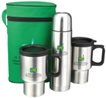 Double walled vacuum flask and travel mug