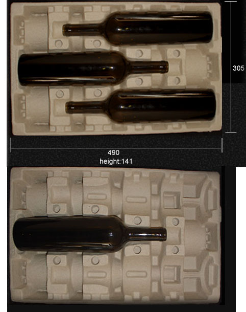 Molded Pulp Molded Pulp 3 Bottle Wine